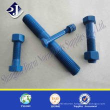 Teflon finished stud bolt Asme standard B7 stud bolt with 2 nut bolt nut manufacturing