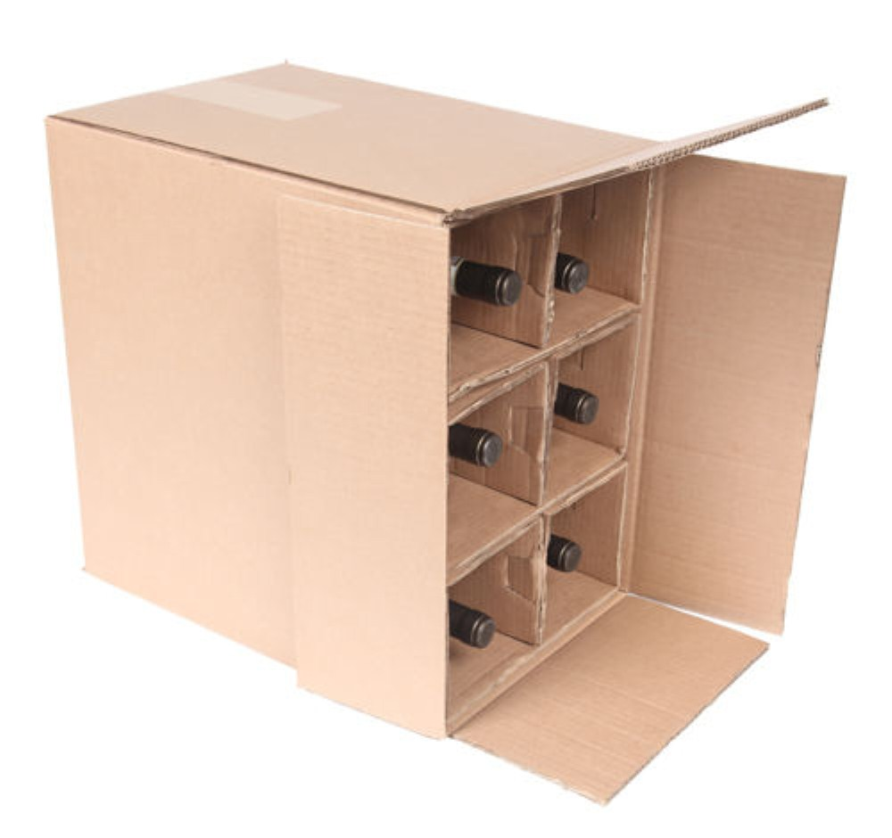 6 Bottle Cardboard Wine Box