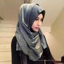 OEM fabricación leopardo gasa llanura hijab musulmán bufanda de cabeza chal