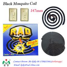 Bobina de mosquito preto, bobina de mosquito não fumo, repelente mosquito bobina