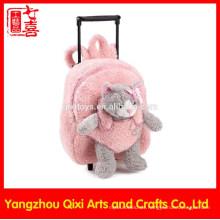 Weiches Spielzeug der Katze auf vorderer rosa Farbplüsch-Laufkatzebeutel scherzt Schule fahrbaren Plüschspielzeug-Taschenlaufkatze