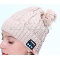 PK18ST015 latest design fashion knitting women pompom beanie with wireless earphone