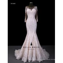 Vestido de noiva com dama de manga comprida vestido de noiva sereia com fundo sem costas