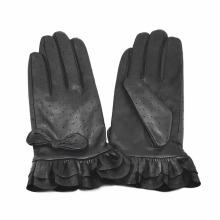 Lady Fashion Rüschen Manschette Ziegenleder Leder Kleid Handschuhe (YKY5210)