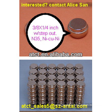 Sintered neodymium magnet w/ step out/magnetic toy