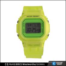 Relógio digital por atacado feito na China pulseira de plástico para relógio traseiro de aço inoxidável