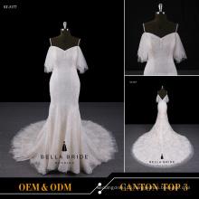 2017 Alibaba sexy sleeveless court train mermaid wedding dress with patterns of lace