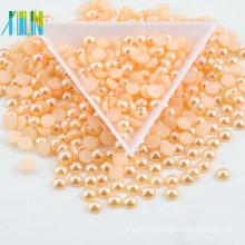 Small order retail AB color shiny white loose plastic flatback beads imitation ABS plastic DIY decoration half round pearl