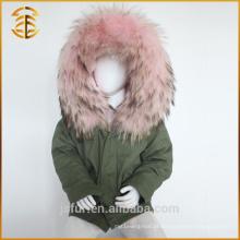 Exército Verde Best Quality Fox Kid Criança Real Fur Parka