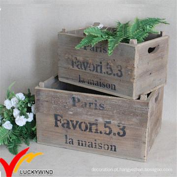 Fazenda Crate Antigo Antigo Recuperado Flor De Madeira Plant Pot