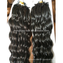 Cheveux de boucle de boucle de kératine de mode, prolongation de cheveux d'anneau de boucle micro de vague profonde de cheveux de Remy de cheveux de Vierge