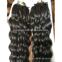 Fashion Keratin Fusion Loop Tip Hair, Virgin Remy human hair deep wave micro loop ring hair extension
