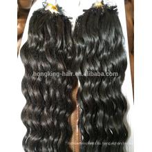 Мода кератина слияние циклов кончик волос, Виргинские Remy человеческих волос глубокая волна микро кольца петли наращивание волос
