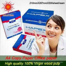 barato papel 100% branco da cópia de madeira da polpa a4 do volume 100%