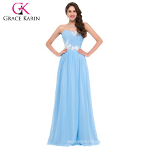 Grace Karin Sweetheart Strapless palabra de longitud azul claro vestido de fiesta CL6107-3 #