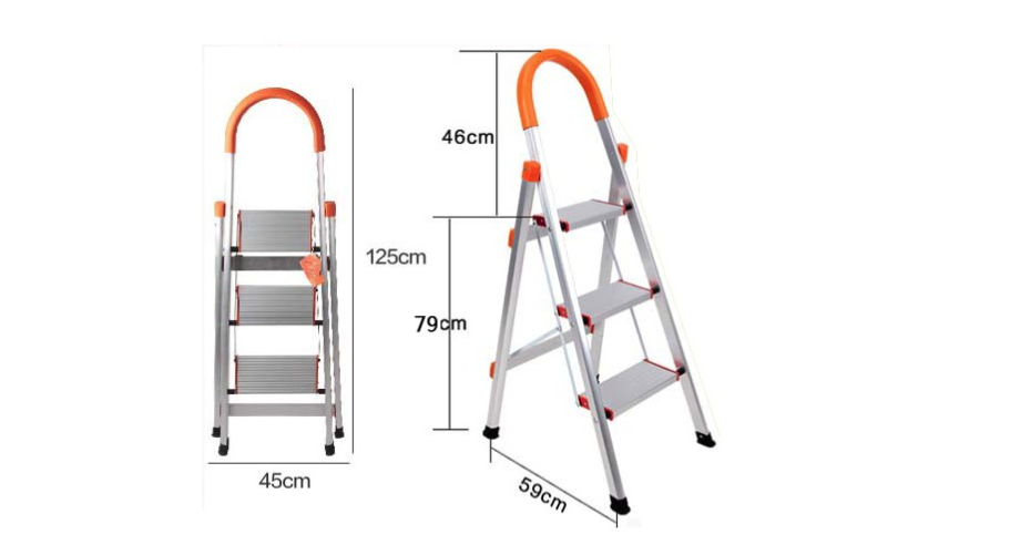 D type 3 steps household ladder
