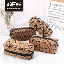 Geometric fashion design cork makeup bag