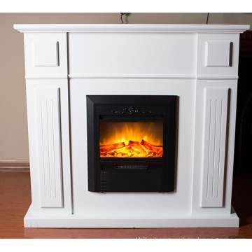delicate vertical insert fireplace with mantel
