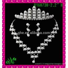 Nouveau design en gros, Silver King King, un strass de tiare, une couronne, une tiare