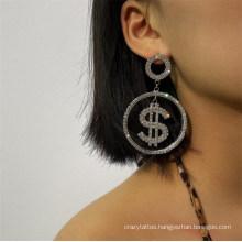 Fashion Elegant Woman Earrings Jewellery Dollar Sign Design Diamond Gilded Pendant Engagement Earrings