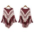 Womens Cardigan Wraps Winter gestrickte Kabel Fransen Shawls Poncho Sweater (SP613)