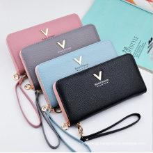 Long Zipper Litchi Grain Hand Bag Lady Wallet