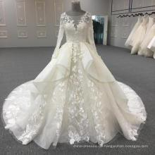 2017 spätestes Entwurfsweiß langes Hülsenhochzeitskleid-Brautkleid WT352