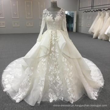 2017 mais recente projeto branco vestido de noiva de manga comprida vestido de noiva WT352