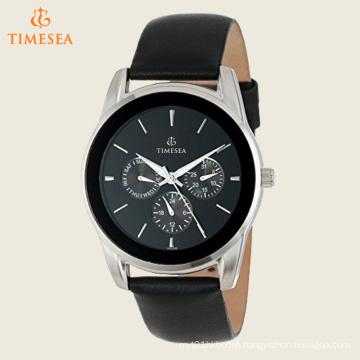 Men′s Multifunction Leather Strap Watch 72549