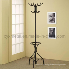 Black Metal Coat Hat Rack Hall Tree Hanger com suporte redondo para guarda-chuva Suporte de anel