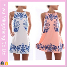 2016 New Design Women Fashion Sweet Printing Blue and White Vest Dress
