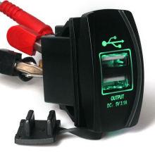 12V 24V 3.1A Coche de la motocicleta Dual USB Fuente de alimentación Cargador Puerto Socket LED verde