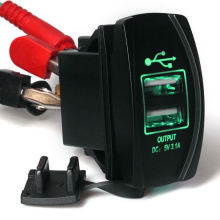 12V 24V 3.1A Motorcycle Car Dual USB Power Supply Charger Port Socket Green LED