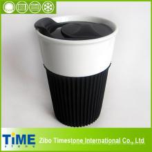 Taza de café con tapa y banda de goma sin plomo (15032801)