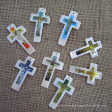 Big Shell Pearl Cross Pendant, Mother of Pearl Cross