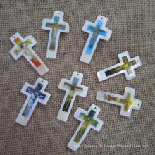 Big Shell Pearl Cross Anhänger, Perlmutt Kreuz