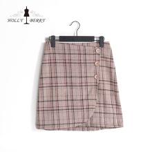 Différents modèles de jupes pour femmes à carreaux marron avec bouton