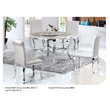 Modern Round Dining Table with Marble/Glass