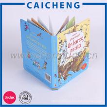 Impresión hecha a mano del libro de cartón de los niños 3d a mano