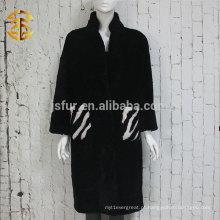 Moda européia Elegant Zebra Pattern Overcoat Casaco de pele de carneiro genuíno Mulheres