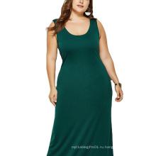 женская одежда без рукавов 2020 Платье больших размеров с круглым вырезом