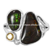 Красивый Аммолит И Цитрин Драгоценных Камней 925 Серебряное Кольцо Ювелирных Изделий