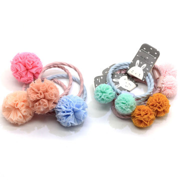 2019 New Products Baby Girl Toddlers Pom Pom Flower Hair Ties Pastel Color Elastic Hair Band Headband Ponytail Holders