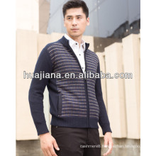 2015 fashion men's heavy cashmere zip cardigan