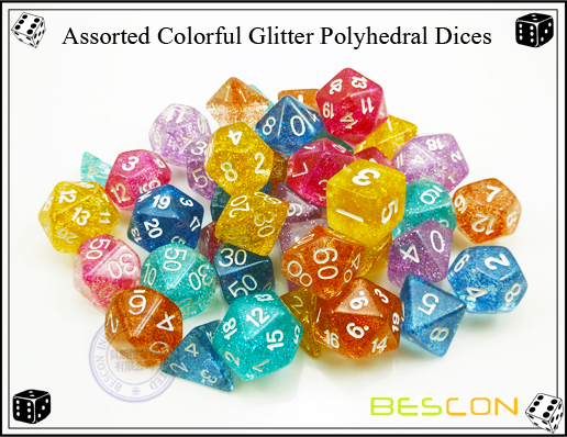 Assorted Colorful Glitter Polyhedral Dices