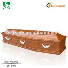 плоская крышка сплошной деревянный гроб JS-E095