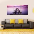 3 Panel-Ruhe-Bild-Druck auf Segeltuch / Großhandels-Lavendel-Farben-Seewand-Kunst / hölzerner Brücken-Segeltuch-Kunst
