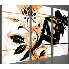 Peinture à l'huile nue à la main à 3 pièces en toile