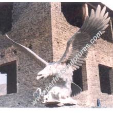 Escultura tallada de piedra del animal del águila de mármol para la estatua del jardín (SY-B012)