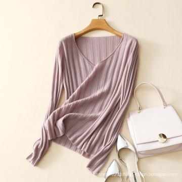 dernier chandail de cachemire de chandail large de chandail de conception de V pour la mode de dame tricotant des chandails de nervure
